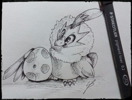Rufflet with a egg by GirlScoutDragon
