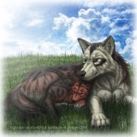 Pup and Father Wolf by SheltieWolf