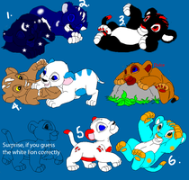 My OCs with Some Adoptables for sale 1 by liongirl2289