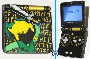 Custom Legend of Zelda Hylian Gameboy Advance SP by TattyBudderfly
