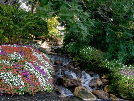 Garden with waterfall stock 7 by FairieGoodMother