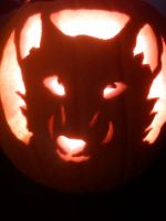 Wolf Face Pumkin Carving by TheRockyWolf