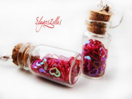 Earrings - Bottles with red glitter hearts by Benia1991