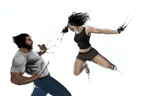 Wolverine vs. X-23 by KangJason
