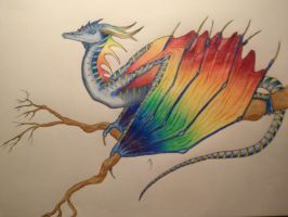 The Blue Macaw Dragon by LabelMeInsomniac