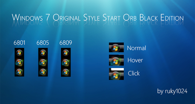 Windows 7 Original Style Start Orb Black Edition by ruky1024