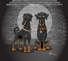 Dobermans Original Cartoon by timmcfarlin