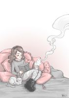 Pillows and coffee. by morbidcookie