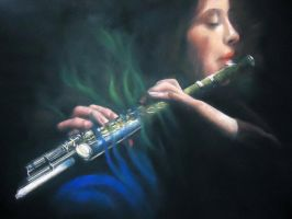 Soft Pastel The flute01 by blackblacksea