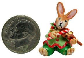 BABY BUNNY RABBIT CHRISTMAS CANDY MUSIC VIOLIN by WEE-OOAK-MINIATURES
