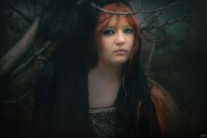 Red Haired Girl and Magic Tree by kemal-kamil-akca