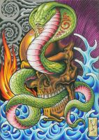 skull and snake by pantung