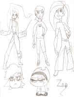 Toon Girl Sketches 3 by Zap1992