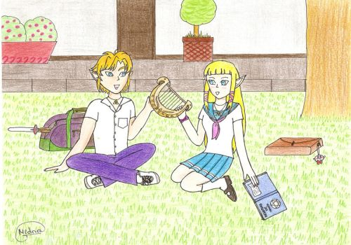Link and Zelda at school by ragnya