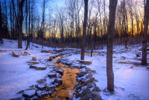 Golden Stream in Winter stock background by little-spacey