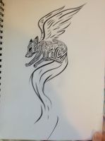 tribal flying fox doodle by toxicfox100