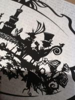 Close up of Tea Party Paper Cut by PaperPandaCuts