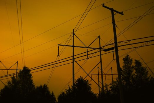 Powerlines at Night by shadowsart