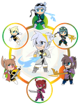 Assorted Chibis - AU Hexafusion MAX by Dragon-FangX