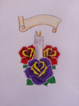 Finished Candle And Roses Design by TerroroftheNight