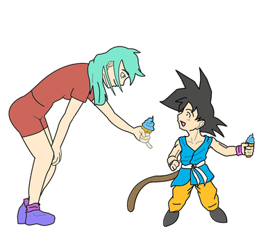 Goku and Bulma by Quiroh