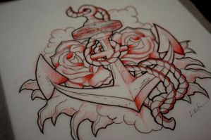 Anchor and Rose Tattoo by red-lima