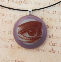 Vintage Eye Fused Glass Pendant by FusedElegance