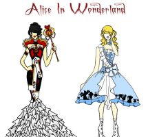 Alice In Wonderland: The Red Queen and Alice by MystiqueGothic