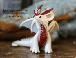 White Red and Gray Polymer Clay Dragon by MiniMythicalMonsters