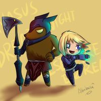 LoL- Nasus and Ezreal by Albaharu