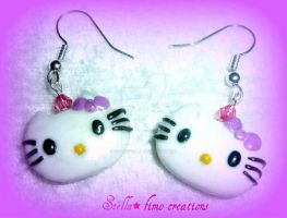 polymer clay-hello kitty earrings by gothicstella