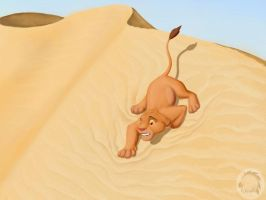 Simba in a desert by Kivuli