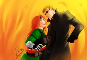 subcom:shak n wesker in fire by ernn