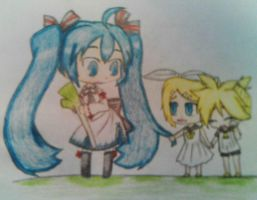 Vocaloid - Miku+the Kagamine's by Neko-pro