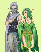 Commission: Edge Geraldine n Rydia by Cygnetzzz