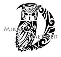 Great Horned Owl and Crescent Moon by mikaylamettler