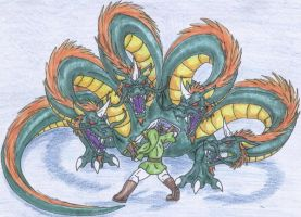 Link vs. 4-Headed Gleeok Color by Scatha-the-Worm