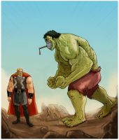 Thor and Hulk confrontation by fifoux