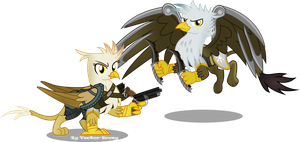 Reggie (Regina) and Kage Grimfeathers by Vector-Brony