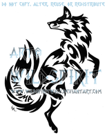 Enigma Leaping Fox Tribal Design by WildSpiritWolf