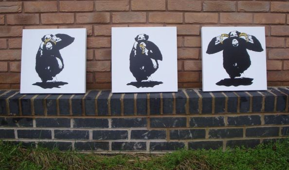 3 Wise Monkeys - Spraypaint Stencil on Canvas by RAMART79