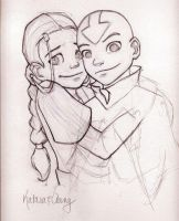 Aang and Katara by AmiraElizabeth