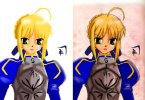 saber arthuria without/with pencil work by EJSalvillaAnasarias
