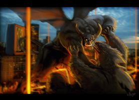 godzilla VS demonic something by shoze