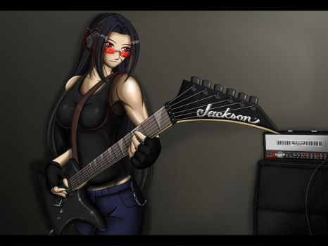 Cassara Playing Guitar by KayinNasaki