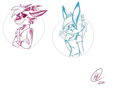 Character badges sketch by The-Flaming-Tiger