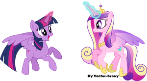 Flying Princesses Twilight And Cadence by Vector-Brony