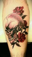 Skull and roses by FoxAndHoundTattoo