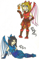 Chibi Water and Fire Dragoons by xReperio