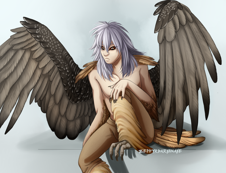 Bearded Vulture harpy!Bakura by ZephyrDarksnake